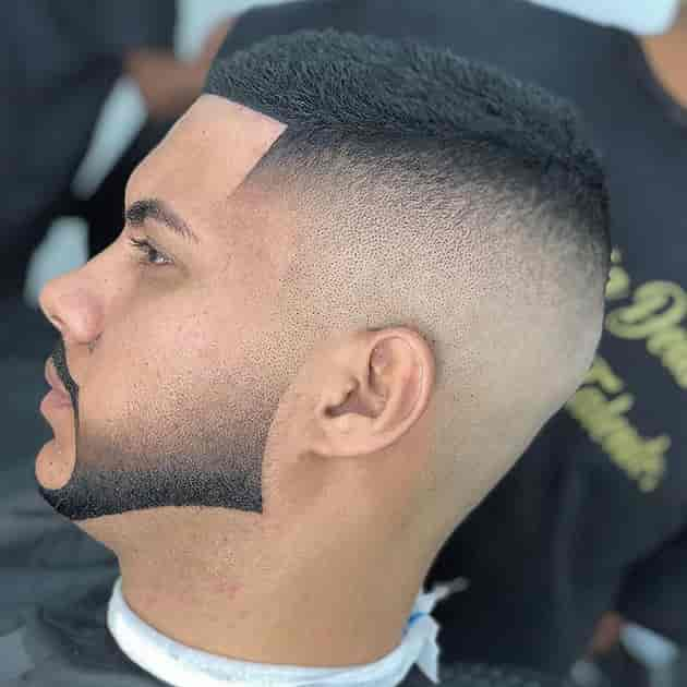 curved fade beard style