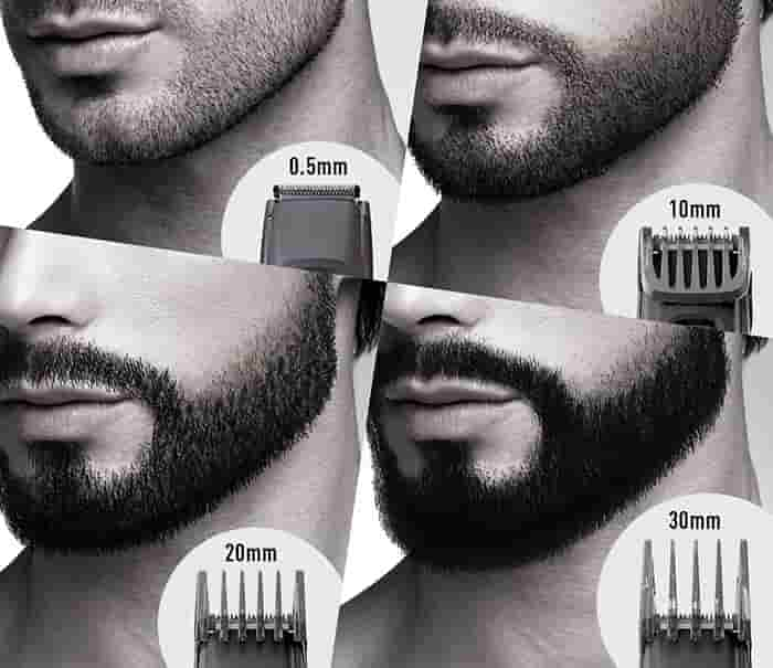 Panasonic ER-GB96-K trimming lengths with and without the combs